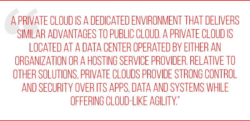 A private cloud is a dedicated environment that delivers similar advantages to public cloud. A private cloud is located at a data center operated by either an organization or a hosting service provider. Relative to other solutions, private clouds provide strong control and security over its apps, data and systems while offering cloud-like agility.