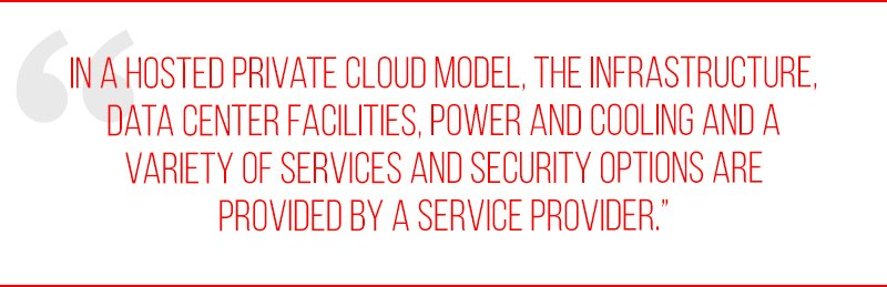 In a hosted private cloud model, the infrastructure, data center facilities, power and cooling and a variety of services and security options are provided by a service provider.