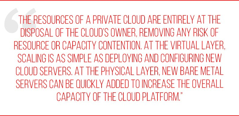 The resources of a private cloud are entirely at the disposal of the cloud's owner, removing any risk of resource or capacity contention. At the virtual layer, scaling is as simple as deploying and configuring new cloud servers. At the physical layer, new bare metal servers can be quickly added to increase the overall capacity of the cloud platform.